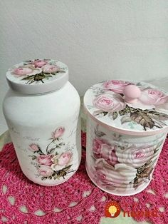 Discover thousands of images about Decoupage Decoupage Jars, Decoupage Furniture, Decoupage Vintage, Decoupage Ideas, Diy Bottle, Bottle Art, Bottle Crafts, Tin Can Crafts, Diy And Crafts
