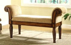 Other entry bench option Wood Hand-Painted Backless Bench w Rolled Arms, Decorative Carved Legs &  Cushioned Seat