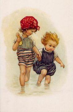 Rosas de Verônica: Crianças Vintage Pintura