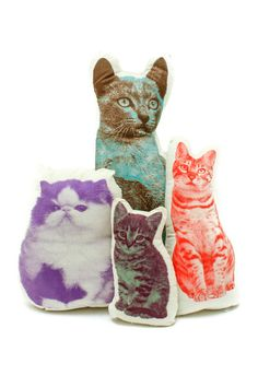 A petite pillow or plaything, these kitties are screened on organic cotton and stuffed with a plush, poly fill. Cat animal pillows from Areaware. Kitten measures 10 x 5 x 3 inches Tabby Cat measures 1