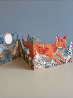 Mark Hearld, 3D Card, Fox At Night, greetings card, nature, collage, paper cut, illustration