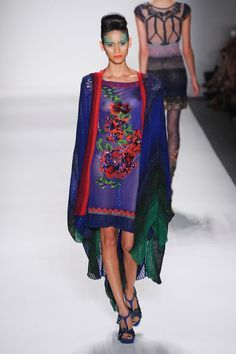 Anna Sui - Spring 2014 - Fabulous royal and red print dress