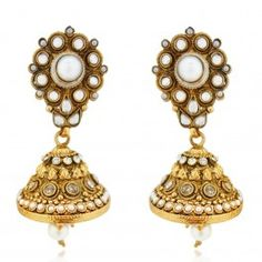 Sia Ethnic Gold Plated Pearl Earring