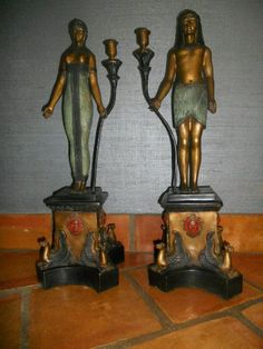 "Art Deco Egyptian Revival 24"" Tall Bronze Cold Painted Candle Holders 1910-1930? #ArtDeco start bid $1,500.00"