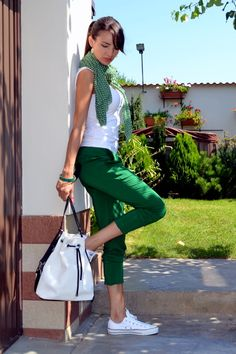 Discover this look wearing Green Zara Pants, Green Massimo Dutti Scarves, White Lacoste Bags - It can't get more casual than this! by styled for Casual, Everyday in the Summer Classy Outfits, Chic Outfits, Spring Outfits, Fashion Outfits, Womens Fashion, Petite Fashion, Curvy Fashion, Looks Chic, Casual Looks