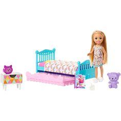 Barbie Chelsea Doll, Barbie Doll Set, Barbie Sets, Doll Clothes Barbie, Barbie I, Barbies Dolls, Purple Teddy Bear, Club Chelsea, Barbie Playsets