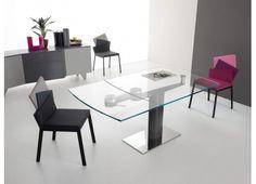 Mesas de jantar PONTE TABELA extensível - Mesa retangular extensível com tampo em vidro transparente extraclear com segurança e uma extensão de slides, base de aço retangular brilhante, cinza moldura cinza lacado.
