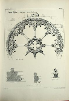 1872 Large Antique Plate of Gothic Architectural Details of the Rose Window in the West Doorway of the Bourges Cathedral, France. Plate no. 12