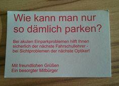 Visitenkarte für Falschparker