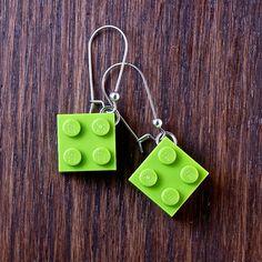 Dangly LEGO® earrings - Lime LEGO® Earrings - Lime green earrings ~ Cool Gift For Teenagers - Lego Gifts for Adults - Ladies Gift Ideas Cool Gifts For Teens, Gifts For Women, Lego Jewelry, Lego Gifts, Teenage Girl Gifts, Green Earrings, Inspirational Gifts, Geek Stuff, Geeks