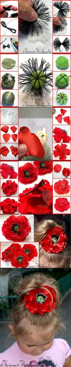 Amapola de tela flor roja hecha a mano manualidad instrucciones en imagenes fotos prendedor de pelo de niña coletero ++ Fabric poppy red flower DIY craft girl: