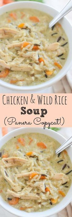 Copycat Recipe for Panera's Chicken and Wild Rice Soup! This recipe is so simple and so delicious! comfort food recipes simple Chicken and Wild Rice Soup (Panera Copycat) Easy Soup Recipes, Chicken Recipes, Cooking Recipes, Recipes Dinner, Recipe Chicken, Recipe For Chicken And Rice Soup, Easy Homemade Soups, Diet Recipes, Wild Rice Recipes