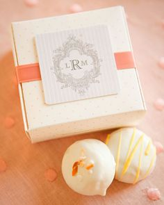 Cake Bites : Coconut and lemon cake bites from The Sweet Tooth Fairy were packaged in boxes wrapped in satin ribbon. The delicately polka-dotted boxes sat on top of the napkin at each place setting, with a tag depicting the couple's new monogram Wedding Favours, Diy Wedding, Wedding Gifts, Wedding Ideas, Wedding Things, Wedding Bells, Wedding Cake, Wedding Stuff, Wedding Photos