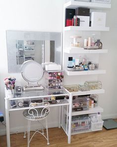 Could use vanity & small bookcase together to get this set-up.