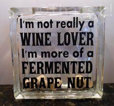 wine cork holder, glass block cork collector, fermented grape nut, mothers day gift, wine drinker, housewarming gift, birthday gift
