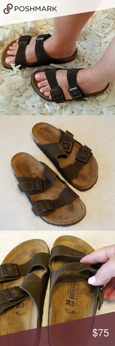 Brown Birkenstock Arizona Softbed sandal EU36 EU 36/US 6 Brown Softbed Birkenstock Arizona Sandals in EUC. I wear a 7-7 1/2 and they fit me ok. Like any of my Birkenstock sandals, I clean and seal cork prior to shipping. Ready for you to wear as soon as you receive!😁 Sorry, No Trades... Birkenstock Shoes Sandals