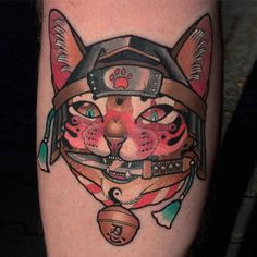 samurai cat tattoo