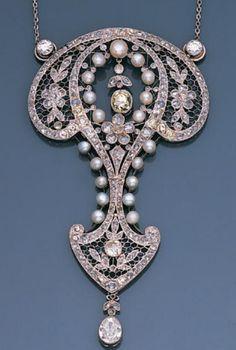 A belle époque pearl and diamond devant de corsage, French, circa 1905.