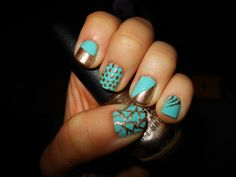 Gold and Teal!! Using Wet n Wild I need a Refresh-Mint and Nicole by OPI The next CEO!
