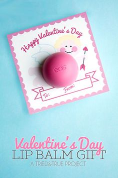 Valentine's Day Lip Balm Gift with a cute free printable at Tried&True blog