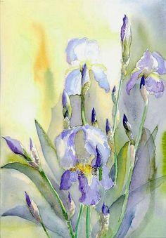 iris watercolor: I love Iris flowers and this painting is lovely. Iris Painting, Watercolour Painting, Painting & Drawing, Watercolors, Watercolor Pictures, Watercolor Cards, Watercolor Flowers, Iris Art, Decoupage Vintage