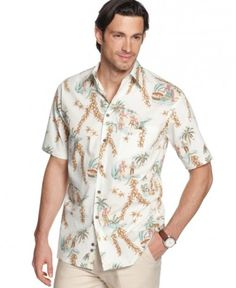 Campia Moda Shirt, Short Sleeve Cotton Vintage Hawaiian Reverse Print Shirt