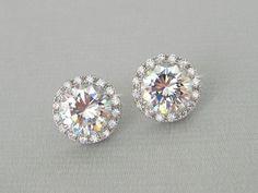 Crystal Stud Bridal Earrings Round Halo Stud by CrystalAvenues