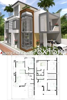 Home Design Plan with 4 Bedrooms - SamPhoas Plan - House Architecture House Layout Plans, Duplex House Plans, Small House Plans, House Layouts, House Floor Plans, Bungalow House Design, House Front Design, Small House Design, Modern House Design