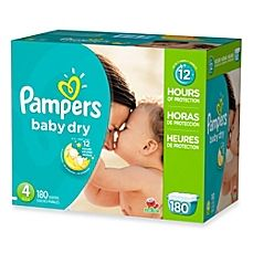 image of Pampers® Baby Dry™ 180-Count Size 4 Economy Pack Plus Disposable Diapers 8 boxes
