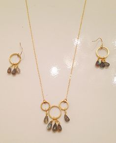 Labradorite with 14K gold fill chain necklace $58 earrings $48 by Raised by wolves NYC