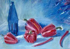 Купить Натюрморт с перцами - голубой, красный, синий, перец, натюрморт, большой натюрморт, картина маслом недорого