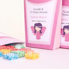 """Cajita para souvenir de nena """"Angelita"""" para imprimir Todos los textos son editables! #comunion #angelita"""