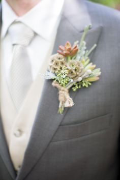A pale green succulent pairs with silver brunia, scabiosa pods and seeded eucalyptus wrapped in a band ivory ribbon Wedding Fun, Rustic Wedding, Wedding Photos, Wedding Ideas, Red Succulents, Grey Suit Wedding, Scabiosa Pods, Seeded Eucalyptus, Boutonnieres