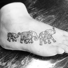 This happy little family train. | 21 Beautiful Elephant Tattoos That Will Inspire You