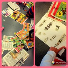 1. luokkalaiset leikkaavat sanomalehdistä kirjaimia ja muodostavat niistä sanoja. (Kaisa-Leena Pulkkinen / Alakoulun aarreaitta)
