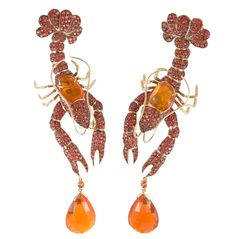 Lobster earrings from Lydia Courteille's Homage to Surrealism collection.