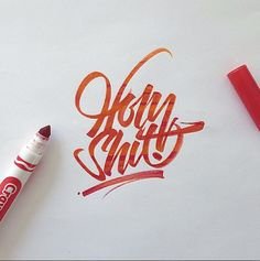 Lettering and calligraphy made with Crayola and different brushpens.