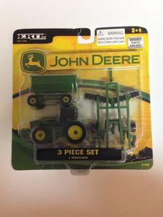 John Deere Tractor 3 Piece Toy Set Wagon Farm Vehicle Ertl # 37290 New Sealed  #Ertl #JohnDeere