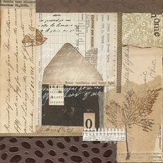 """Sanctuary"" Mixed-media collage from found and new papers and ink. 8″ x 8″ Art prints available!!!"