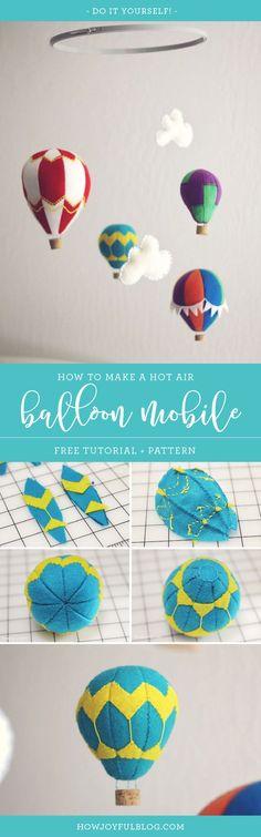 How to make a hot air balloon mobile with felt - tutorial and pattern - Nursery by Joy Kelley of  @Howjoyful via @howjoyful