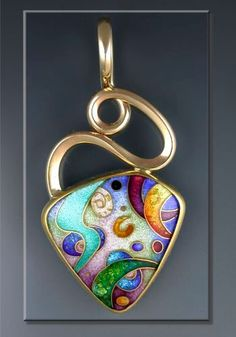 "Colors Of The Universe II"" - 2003.  Cloisonné Enamel Pendant, Forged & Fabricated - Sharon Scalise"