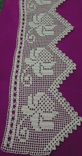 This Pin was discovered by ozn Crochet Lace Edging, Crochet Borders, Filet Crochet, Crochet Doilies, Crochet Patterns, Crochet Curtains, Crochet Tablecloth, Crochet Home, Love Crochet