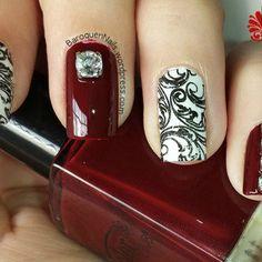 Diamonds And Damask nail art by BaroquenNails