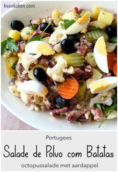 Salada de polvo com batatas – octopus-salade met aardappels – De K van Koken Cobb Salad, Food, Octopus Salad, Potatoes, Salads, Cilantro, Essen, Meals, Yemek
