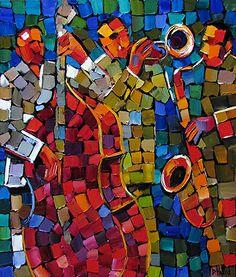 Mosaic Jazz 2 Oil on Canvas by Debra Hurd