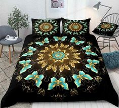 Gold and Turquoise Butterflies Bedding Set Butterfly Bedding Set, Discount Bedding Sets, Boho Bedding, Bed In A Bag, Cotton Duvet, Gifts For Teens, Clean Design, Beautiful Patterns, Duvet Cover Sets