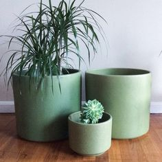 LARGE Gainey Planter Pair Green Speckled Rare AC 14 Vintage