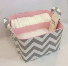 LG Diaper Caddy 10x10x7 Fabric Bin, Fabric Storage bin, Fabric Organizer Chevron Zig Zag Grey/White with Light Pink Lining