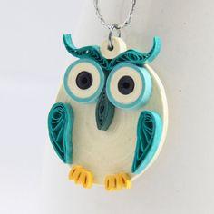 Aqua Owl Pendant Eco Friendly Fashion Handmade by by HoneysHive, $32.00
