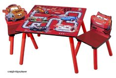 Toddler Activity Table Two Chairs Set Wooden Disney Cars Play Room Furniture #Delta
